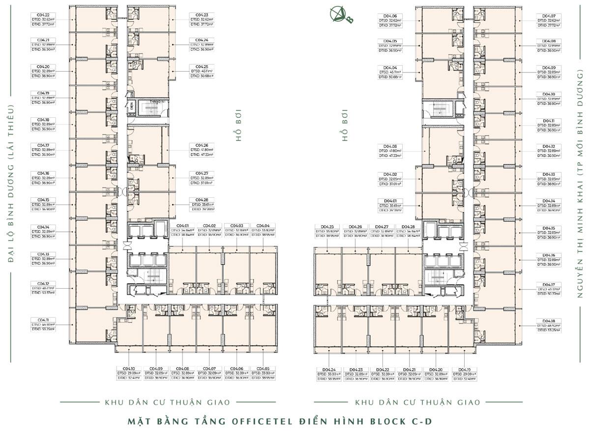 mat bang tang dien hinh officetel block C D anderson park - ANDERSON PARK BÌNH DƯƠNG