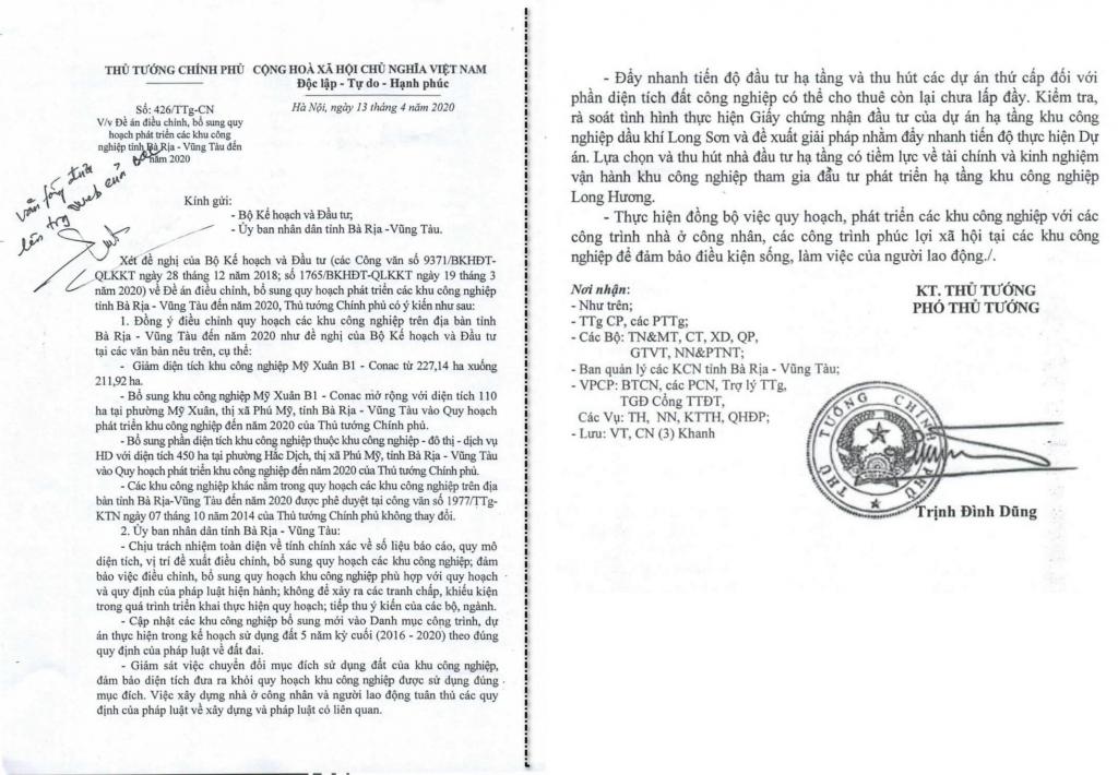 Văn bản của Thủ Tướng Chính Phủ phê duyệt đề án điều chỉnh & bổ sung khu công nghiệp