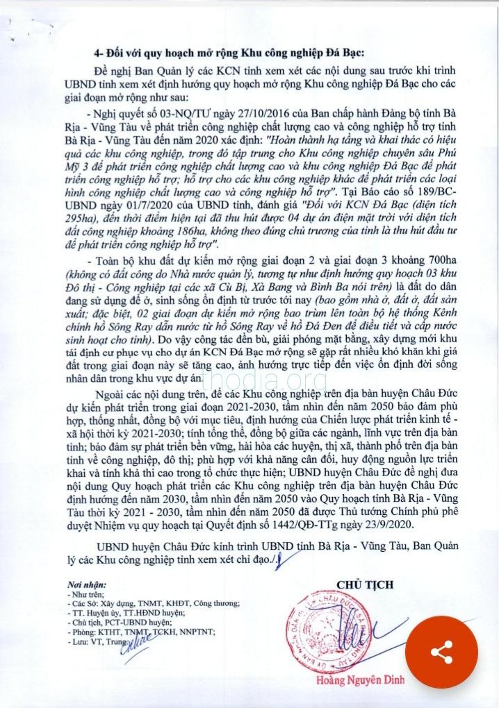 Văn bản của UBND huyện Châu Đức gửi UBND tỉnh Bà Rịa – Vũng Tàu